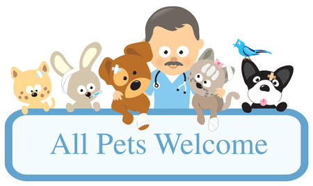 Vet and pets holding sign Vector