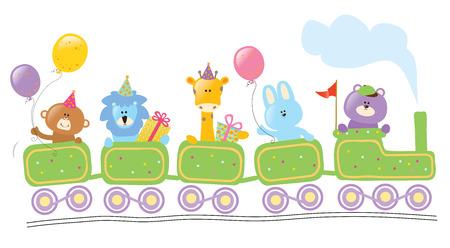 tren caricatura: Animales que montan tren cumpleaños Vectores