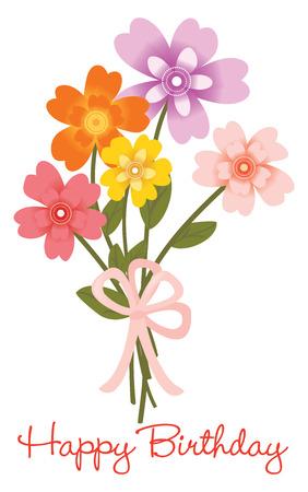 Happy Birthday flower bouquet 일러스트