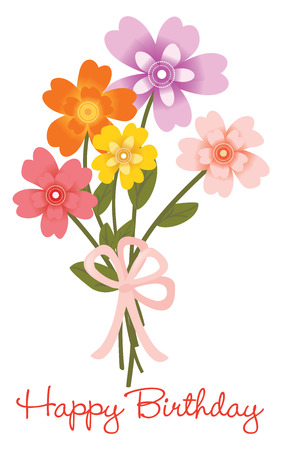 flower bouquet: Gelukkige Verjaardag bloemboeket Stock Illustratie