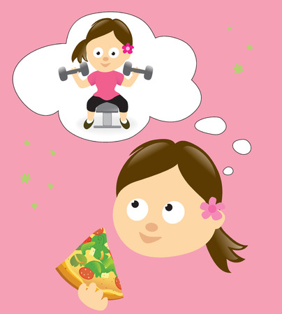 Diet and exercise concept Illustration