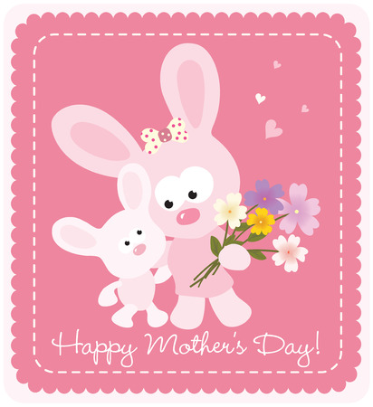 Happy Mother\'s Day bunnies Ilustrace