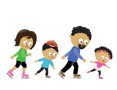 Vector illustration of a family skating together Ilustrace