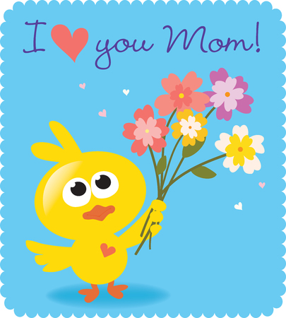 Mothers Day bird with flowers