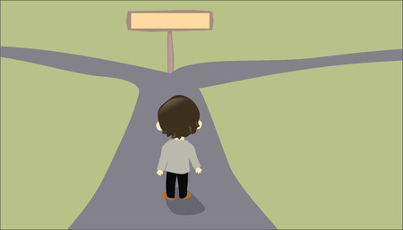 path ways: Person facing a two-way road