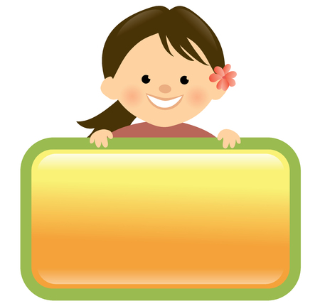 holding sign: Girl holding sign Illustration
