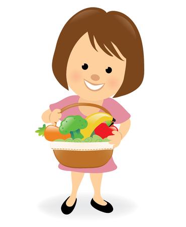 Lady holding fruit and veggie basket