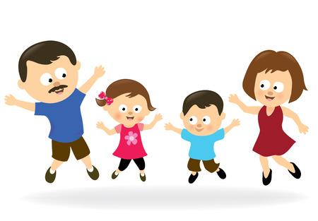 niña: Familia saltar