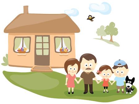 perro familia: Familia con la casa Vectores