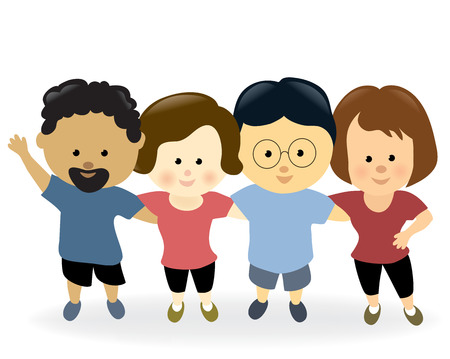 arms around: Exercise group together Illustration