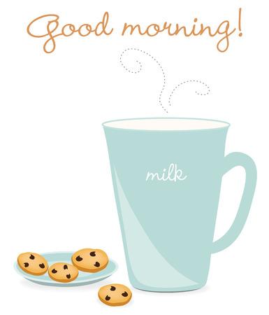 milk and cookies: Milk and cookies Illustration
