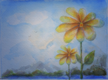 Flower and Sky Background Hand Painted Illustration - Jpeg