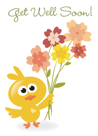 Get Well Soon bird with flowers Ilustrace