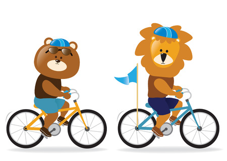 Lion and bear riding bikes Reklamní fotografie - 51007790