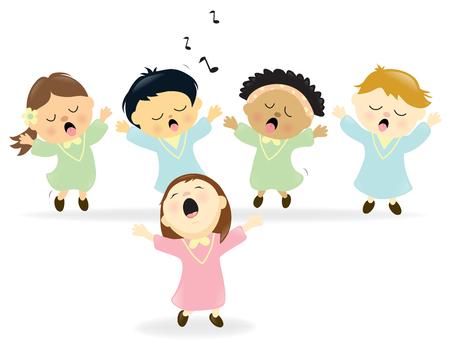 Śliczne Chór śpiewa Ilustracje wektorowe