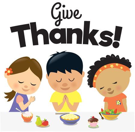 niños: Niños Dar Gracias Vectores