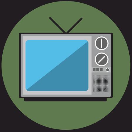 television antigua: Televisión retra en el diseño plano.