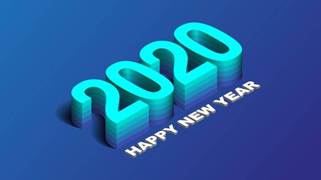 2020 Happy New Year Background, Card, Banner, Flyer Or Christmas Themed Invitations. Blue Illustration With Gradient Number. Vector EPS 10.