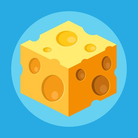 Cube of cheese isolated on a blue background.