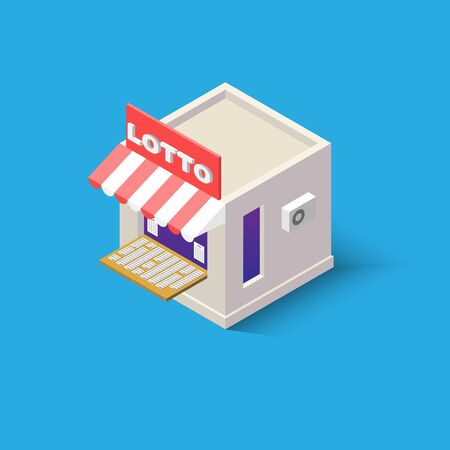 An Isometric lotto shop with stalls outside for web design online store.