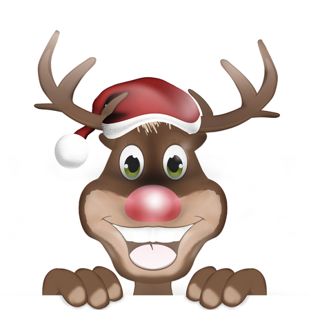 christmassy: Rudolph with Christmas Hat and Happy Smile