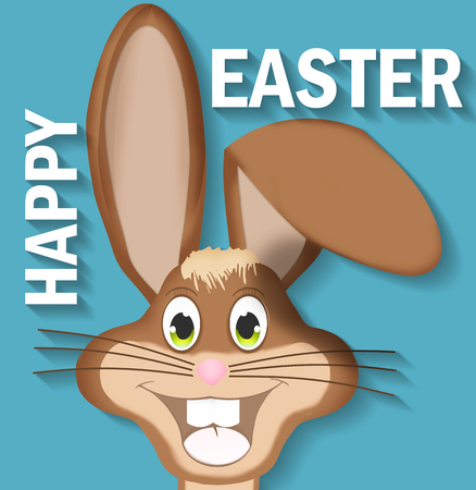 brown hare: easter bunny happy