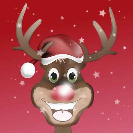 Rudolph with Christmas Hat and Happy Smile photo