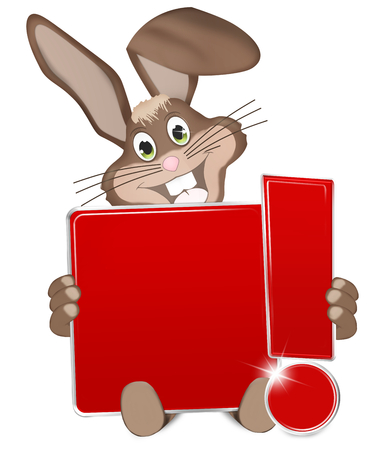 rood teken: Pasen Buny rood bord met uitroepteken Stockfoto