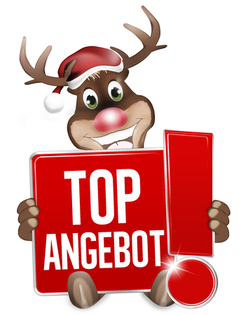 rood teken: Christmas Reindeer red sign with exclamation mark