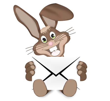brown hare: Easter Bunny With Letter Stock Photo