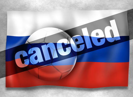 causes: Football Russia canceled Stock Photo