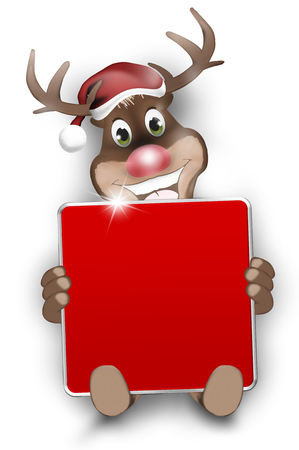 Christmas Look Happy Reindeer hold a red blank board