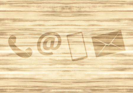 contact icons: Contact icons on Wood Background
