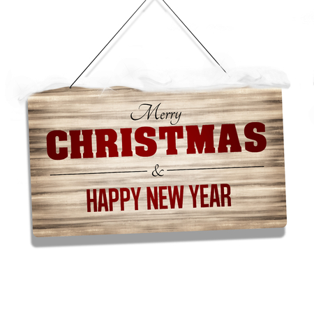 stock photo wood sign merry christmas and happy new year