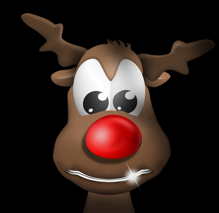 grinning: Reindeer Figure Christmas Look Stock Photo