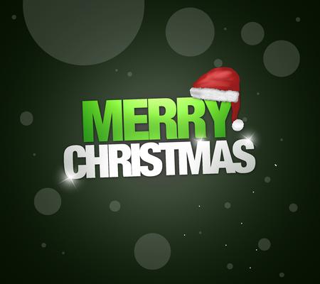 merry christmas text: Texto de la Feliz Navidad con un sombrero de santa sobre fondo negro Foto de archivo