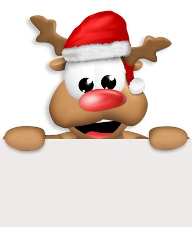 renos de navidad: Reno Carton feliz con el sombrero de la Navidad tarjeta en blanco Foto de archivo