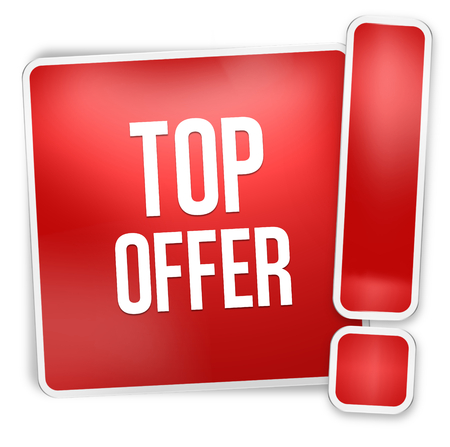 reduced value: Top offer red icon button