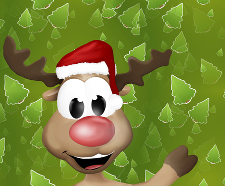 cloven: Cute Reindeer Says Hello Hi Stock Photo
