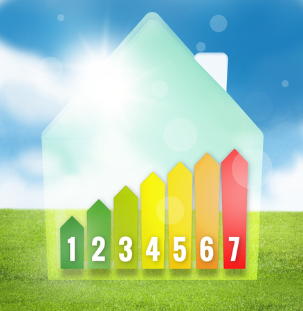 efficient: Energy Efficient House Scale Stock Photo