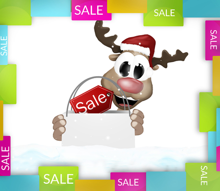 colorfully: Reindeer shopping bag colorfully sale Stock Photo