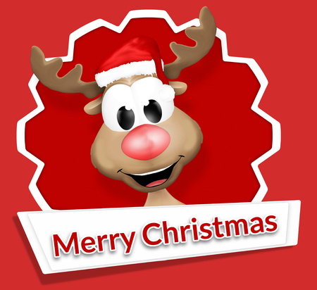 stickers: Christmas Reindeer Merry Christmas Stock Photo