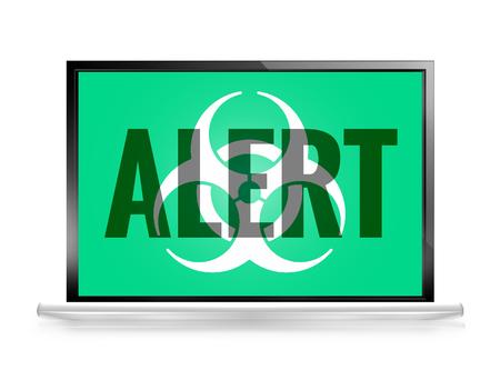 medical technical equipment: Alert computer screen Biohazard