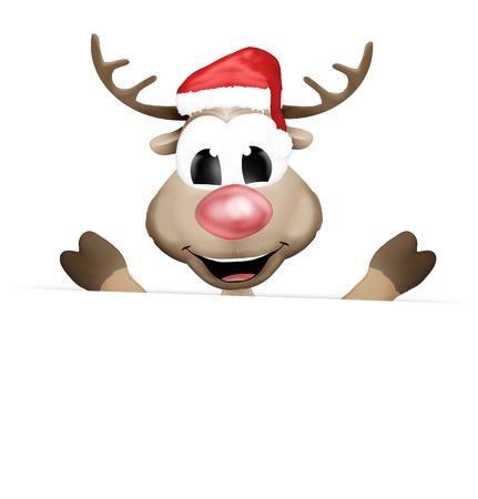 ad board: happy christmas reindeer Stock Photo
