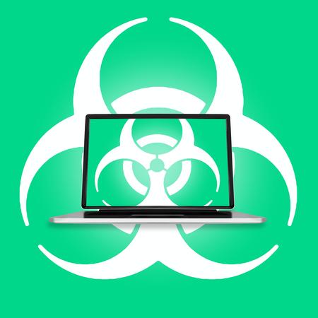 mundo contaminado: Ilustración de la pantalla del ordenador