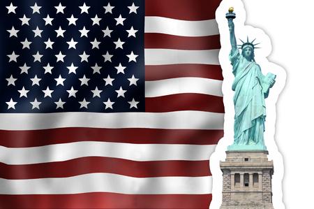unites: Unites States Flag Statue of Liberty Stock Photo