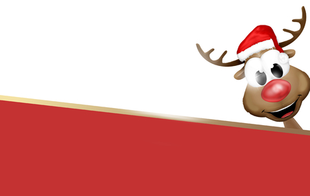 bottom: Smile Reindeer Red Bottom Design Stock Photo