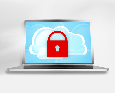 cloud computer: Computer Screen Graphic Illustration Stock Photo