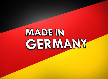 foreign trade: made in germany flag background Stock Photo