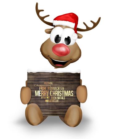 multilingual: Reindeer Merry Christmas multilingual Stock Photo